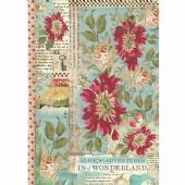 Stamperia A4 Rice Paper - Alice Red Flowers - DFSA4351